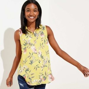 Petite Yellow Floral Button Down Shell